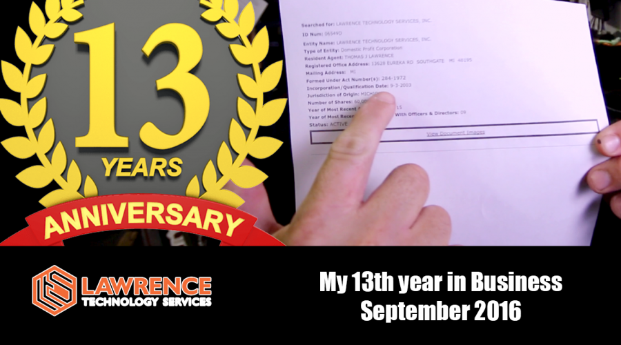 September 2016 is Lawrence Technologies 13th year in Business!