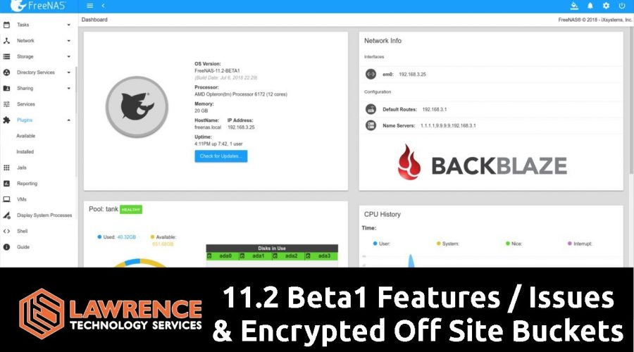 FreeNAS 11.2 Beta1 Mini Review: iocage / iSCSI / plugins / and encrypted BackBlaze Cloud Backup Test