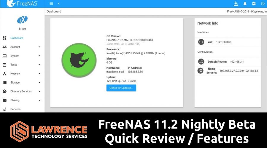 FreeNAS 11.2 Nightly Beta Quick Review Of The New Default UI & Some Feature Changes
