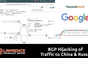 Thousand Eyes & BGP Hijacking of Google's Traffic to China / Russia