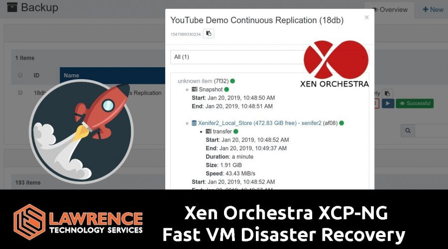 Xen Orchestra / XCP-NG Fast VM Disaster Recovery Using Continuous Replication